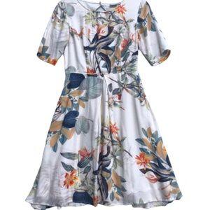 eShakti Floral Scoop Neck Open Back Dress S